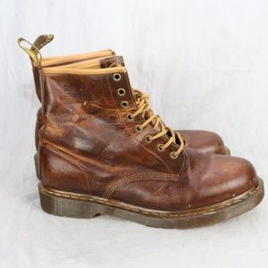 Dr Martens Mens Brown Distressed Leather Boots